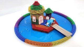 DIY - How To Build Rainbow House in Swimming Pool With Magnetic Balls And Slime - Magnet Colors