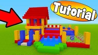 "Minecraft Tutorial: How To Make A Bouncy House House With a Parkour Course ""Bouncy House Tutorial"""