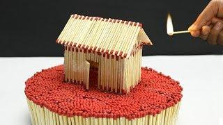 How to make Match Stick House -Burning match Stick house fire at home