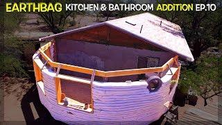 Paint, Tire Frame & Set up for Rainwater Harvesting! | Kitchen & Bathroom Earthbag Add-on Ep10 | WP