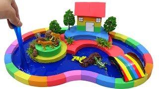 DIY How To Make Forest City with Kinetic Sand, Mad Mattr, Slime and Learn Colors