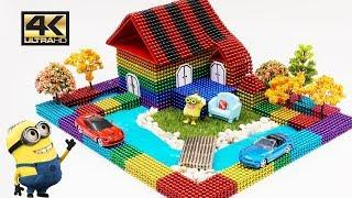 ASMR -DIY How To Make Garden House with Magnetic Balls, Slime and Minion   Magnet World 4K