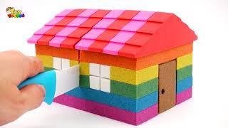 Skip to my Lou   DIY How to make Rainbow Kinetic Sand House Peppa Pig Slime Pool Songs for Kids