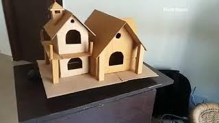 How to make a cardboard house for birds .Nestbox making for birds. Finches nest cardboard craft