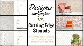 How To Stencil THREE Anthropologie Wallpaper Designs With ONE Metallic Paint Color