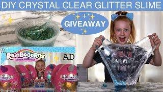 HOW TO MAKE CRYSTAL CLEAR GLITTER SLIME FT. RAINBOCORNS + SLIME GIVEAWAY | Ruby Rose UK