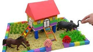 DIY How To Make Rainbow House On Stilts with Kinetic Sand, Mad Mattr, Popsicle Stick