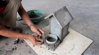 Best Ideas With Cement - How To Make Planter Tree House From Cement - Unusual Pots Making
