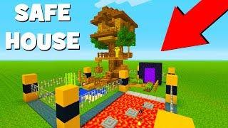 "Minecraft Tutorial: How To Make A Mob Proof Tree house ""Safe house Minecraft"""
