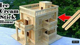How to Make Modern Popsicle Sticks House Building Popsicle Stick Mansion | tips and tricks