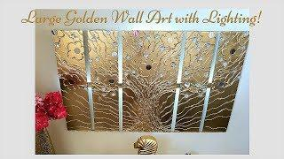 Diy Lighted Metallic Wall Art Decor| Wall Decor ideas in Gold!