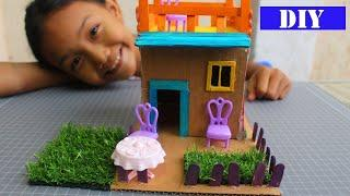 How to Make A  Popsicle Stick House With Garden - Easy Crafts for Kids