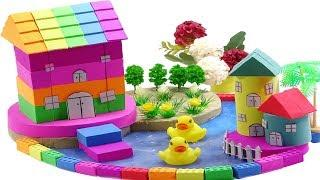 DIY How To Make Rainbow House and Flower Decoration with Kinetic Sand, duck, slam