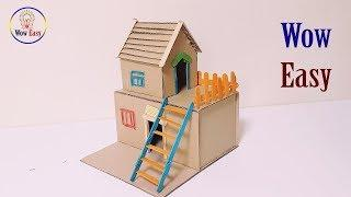 How to make cardboard house project easy | diy dollhouse cardboard & popsicle stick craft