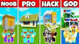 Minecraft: FAMILY MODERN VILLAGE HOUSE BUILD CHALLENGE - NOOB vs PRO vs HACKER vs GOD in Minecraft