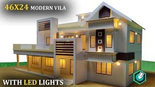 46X24   CONTEMPORARY MODERN HOUSE   PART 3    HOW to MAKE a CARDBOARD house with LED LIGHTS