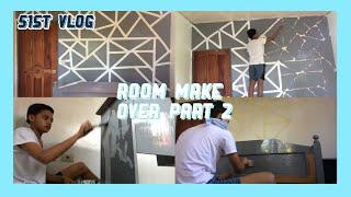 ROOM MAKEOVER 2019 PART 2 ( geometric wall painting + repainting bed and desk)    Adley Dimla