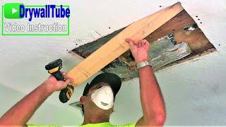 How to cut out and install drywall on a water damaged drywall ceiling