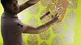 How to stencil design paint RN f104 wallpaper look please subscribe my channel