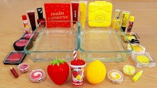 Strawberry vs Lemon - Mixing Makeup Eyeshadow Into Slime! Special Series 95 Satisfying Slime Video