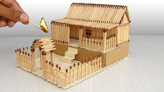 How To Make Such A Beautiful Matchstick House And Burn It | Amazing Fire Domino
