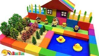 How To Make Cute Rainbow House With Vegetable Garden And Slime Pool From Kinetic Sand - For Kids