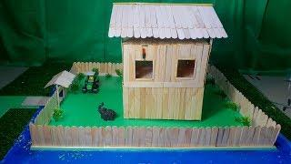 How to build a Wooden House from Popsicle Stick Surrounded by Water, 3M DIY