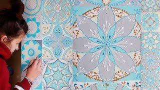 SPEED PAINTING: Расписываю стену/ Mandala wall art| Fosssaaa