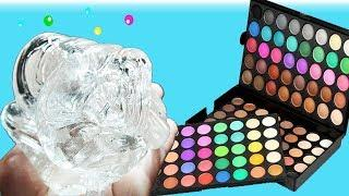 MIXING 100 SHADES OF EYESHADOW INTO CLEAR SLIME! ,Giant Make-up Slime, Slime Masters