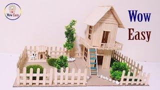 How to make a beautiful dream house easy from ice cream stick | Popsicle stick house craft diy