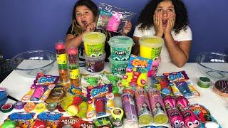 MIXING ALL OUR STORE BOUGHT SLIMES 6 - NEW FLUFFY SLIMES - GIANT SLIME SMOOTHIE