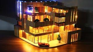 How to make a Wooden Stick house with LED light - ver 2