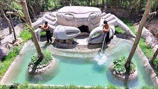 Build Beautiful Swimming pool  House Crab Full Video #Primitive_Copy / Primitive building