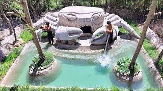 Build Beautiful Swimming pool  House Crab Full Video #Primitive_Copy / Primitive building