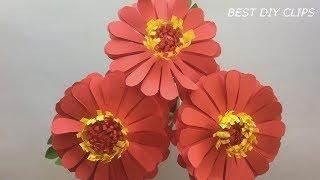 DIY How to Make Beautiful Stick Flowers/Paper Color Idea Step by Step/F34