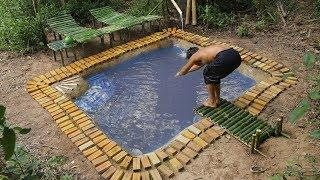 Build Bamboo Water Park And Rebuild Underground Swimming Pool Around House