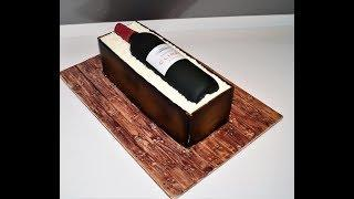 Cake decorating tutorials | how to make a Wine Bottle in a Wood Crate cake | Sugarella Sweets