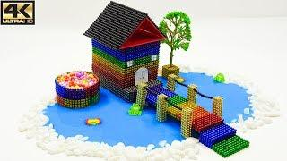 ASMR - How To Make Beautiful Rainbow House in Lake with Mini Magnetic Balls | Magnet balls