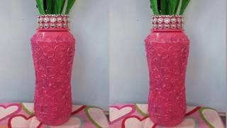 Best out of waste plastic bottle flower vase.Bottle decoration ideas using hot glue.