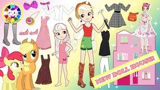 Homemade Paper Dolls mlp Applejack dress up like Barbie doll house maker handmade papercraft
