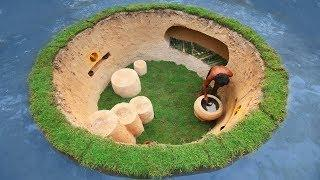 Dig To Build Awesome Underground Modern Tiny House Surrounded By Natural Pool