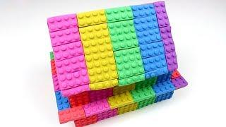Kinetic Sand. How to make a Rainbow lego house for Kids from kinetic sand