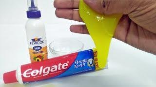 Amazing Toothpaste Life Hacks   How to Make Yellow Slime Wi Toothpaste & Fevicol   Satisfying Slime