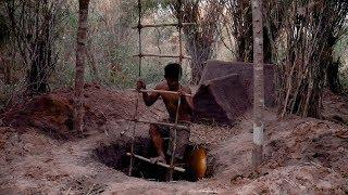 Building The Most Secret Underground Bamboo Clay House, Primitive technology