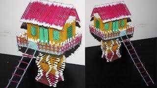 How to Make Baby Cotton Buds House - Attractive and Colorful House | Rainbow Color Crafts