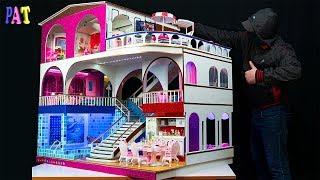 How to Make a Barbie Mega Miniature Doll House! Kitchen and swimming pool with light, Bedroom for ch