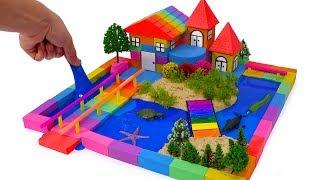 DIY How To Make Kinetic Sand Villa House Garden Learn Colors With Nursery Rhymes Songs For Children