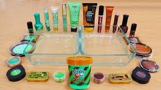 Mint vs Chocolate - Mixing Makeup Eyeshadow Into Slime! Special Series 99 Satisfying Slime Video