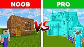 Minecraft NOOB vs PRO: DIAMOND HOUSE vs DIRT HOUSE battle in Minecraft!