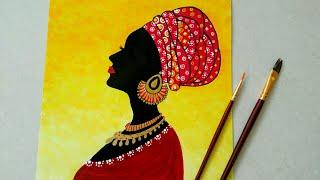 African women silhouette Painting || Beautiful African Lady || Statement wall decor ideas